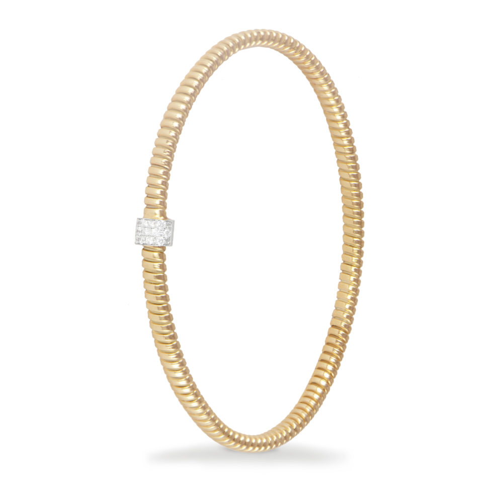 Bracciale in oro giallo con diamanti bianchi Collezione Basic Oro 18 carati Diamanti bianchi: carati 0,10 - qualità G/VS
