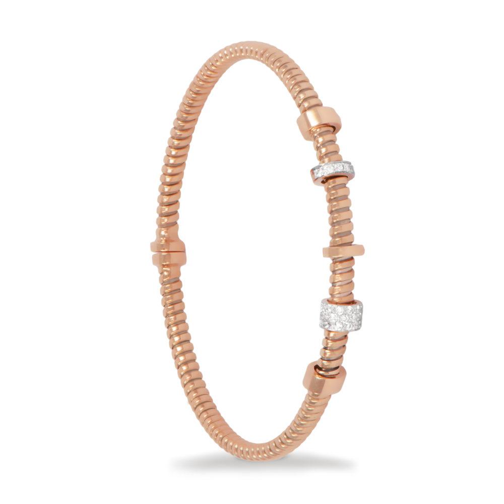 Bracciale in oro rosa con diamanti bianchi Collezione Move Oro 18 carati Diamanti bianchi: carati 0,14 – qualità G/VS
