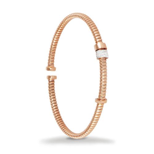 Bracciale in oro rosa con diamanti bianchi Collezione Move Oro 18 carati Diamanti bianchi: carati 0,10 - qualità G/VS