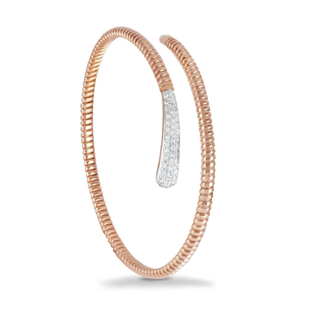 Bracciale in oro rosa con diamanti bianchi Collezione Snake Oro 18 carati Diamanti bianchi: carati 0,30 - qualità G/VS