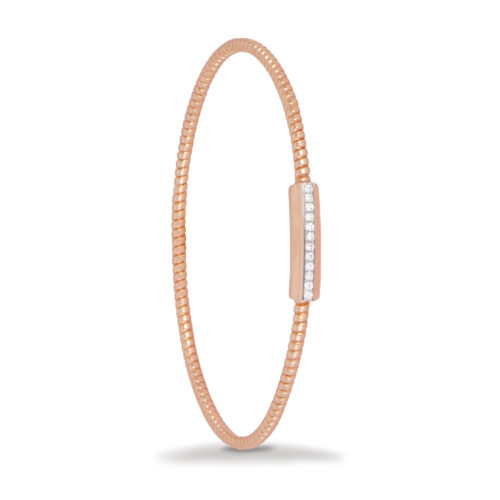 Bracciale in oro rosa con diamanti bianchi Collezione Easy Oro 18 carati Diamanti bianchi: carati 0,10 - qualità G/VS
