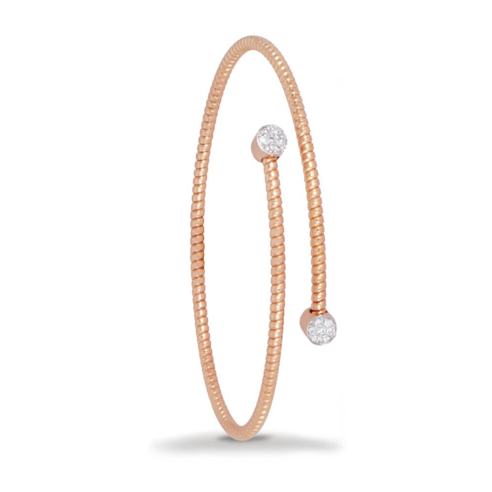 Bracciale in oro rosa con diamanti bianchi Collezione Easy Oro 18 carati Diamanti bianchi: carati 0,11 - qualità G/VS