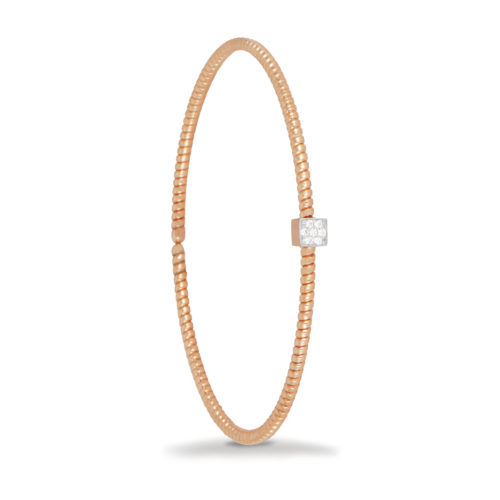 Bracciale in oro rosa con diamanti bianchi Collezione Easy Oro 18 carati Diamanti bianchi: carati 0,06 - qualità G/VS