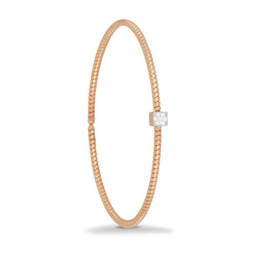 Bracciale in oro rosa con diamanti bianchi Collezione Easy Oro 18 carati Diamanti bianchi: carati 0,06 - qualità G/VS
