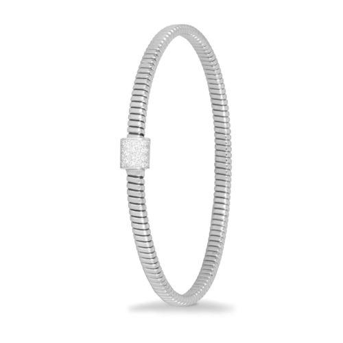 Bracciale in oro bianco con diamanti bianchi Collezione Basic Oro 18 carati Diamanti bianchi: carati 0,17 - qualità G/VS