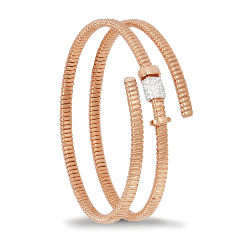 Bracciale in oro rosa con diamanti bianchi Collezione Move Oro 18 carati Diamanti bianchi: carati 0,17 - qualità G/VS