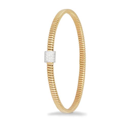 Bracciale in oro giallo con diamanti bianchi Collezione Basic Oro 18 carati Diamanti bianchi: carati 0,47 - qualità G/VS