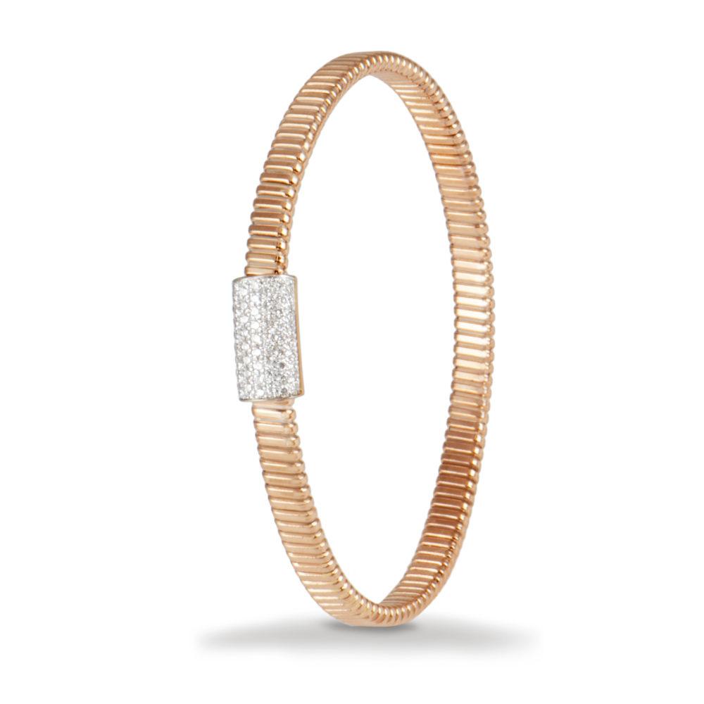 Bracciale in oro rosa con diamanti bianchi Collezione Basic Oro 18 carati Diamanti bianchi: carati 0,47 - qualità G/VS