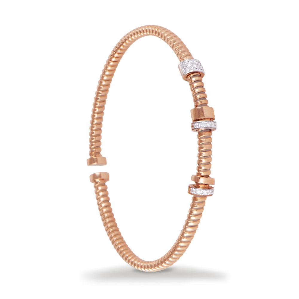 Bracciale in oro rosa con diamanti bianchi Collezione Move Oro 18 carati Diamanti bianchi: carati 0,18 - qualità G/VS
