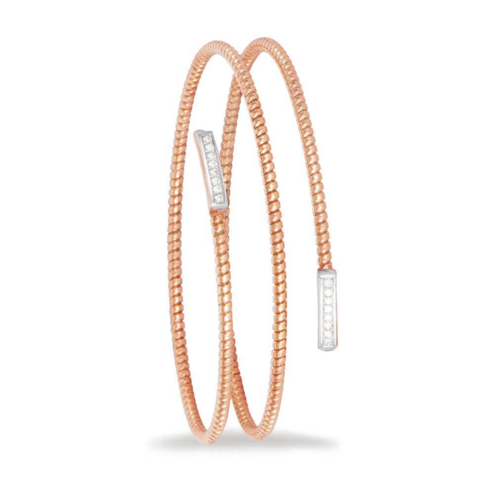 Bracciale in oro rosa con diamanti bianchi Collezione Easy Oro 18 carati Diamanti bianchi: carati 0,13 - qualità G/VS