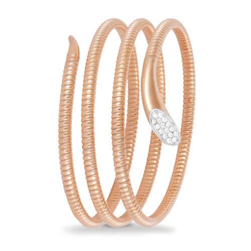 Bracciale in oro rosa con diamanti bianchi Collezione Snake Oro 18 carati Diamanti bianchi: carati 0,13 - qualità G/VS