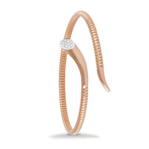 Bracciale in oro rosa con diamanti bianchi Collezione Snake Oro 18 carati Diamanti bianchi: carati 0,07 - qualità G/VS