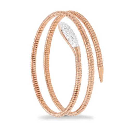 Bracciale in oro rosa con diamanti bianchi Collezione Snake Oro 18 carati Diamanti bianchi: carati 0,43 - qualità G/VS