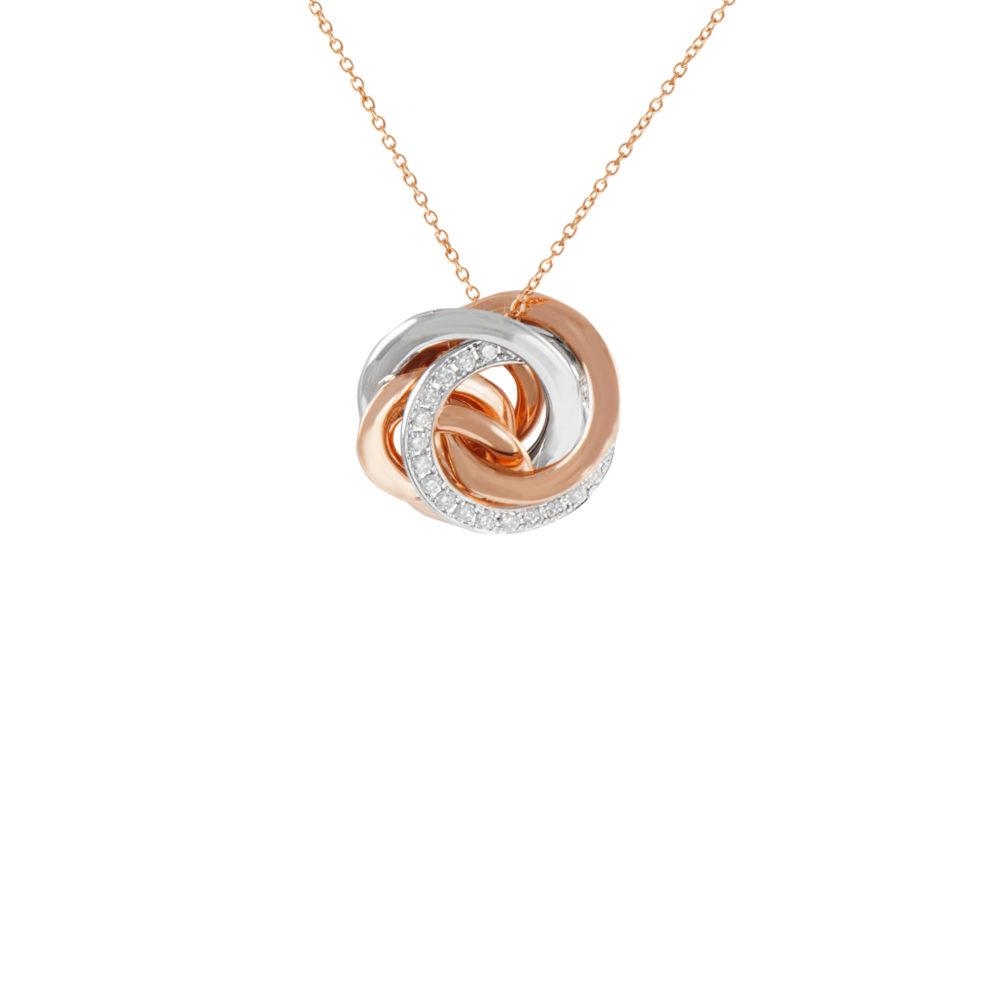 Pendente in oro rosa e bianco con diamanti bianchi Collezione Circles Oro 18 carati Diamanti bianchi: carati 0,20 – qualità G/VS Lunghezza catena: 45 cm