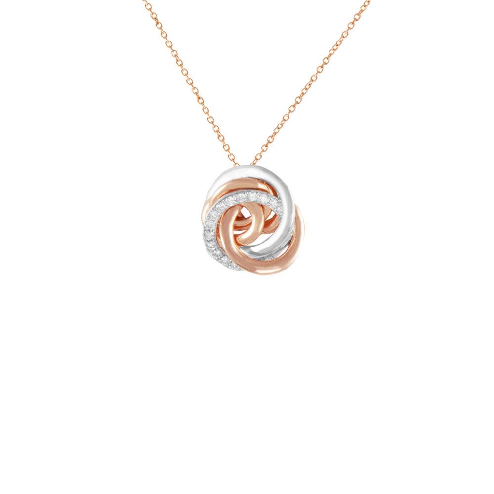 Pendente in oro rosa e bianco con diamanti bianchi Collezione Circles Oro 18 carati Diamanti bianchi: carati 0,11 - qualità G/VS Lunghezza catena: 45 cm