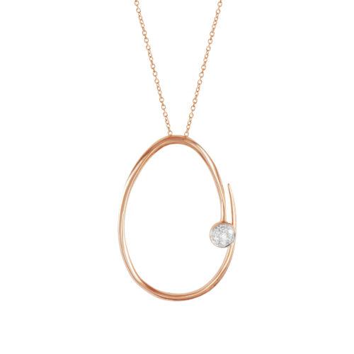 Pendente in oro rosa con diamanti bianchi Collezione Premiére Oro 18 carati Diamanti bianchi: carati 0,16 - qualità G/VS Lunghezza catena: 45 cm