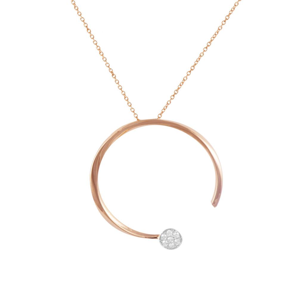 Pendente in oro rosa con diamanti bianchi Collezione Premiére Oro 18 carati Diamanti bianchi: carati 0,13 - qualità G/VS Lunghezza catena: 45 cm