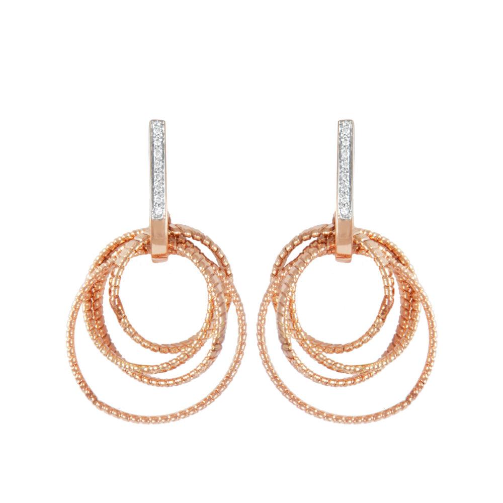 Orecchini in oro rosa con diamanti bianchi Collezione Bundles Oro 18 carati Diamanti bianchi: carati 0,08 - qualità G/VS