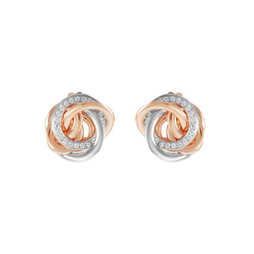 Orecchini in oro rosa e bianco con diamanti bianchi Collezione Circles Oro 18 carati Diamanti bianchi: carati 0,36 – qualità G/VS