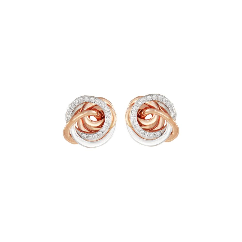 Orecchini in oro rosa e bianco con diamanti bianchi Collezione Circles Oro 18 carati Diamanti bianchi: carati 0,23 - qualità G/VS