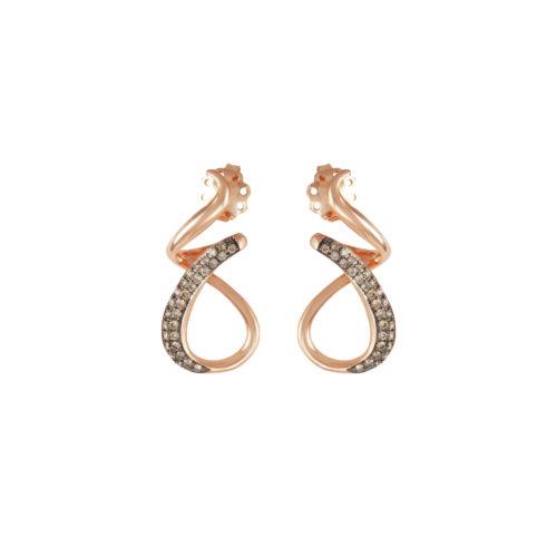 Orecchini in oro rosa con diamanti brown Collezione Intrecci Oro 18 carati Diamanti brown: carati 0,42