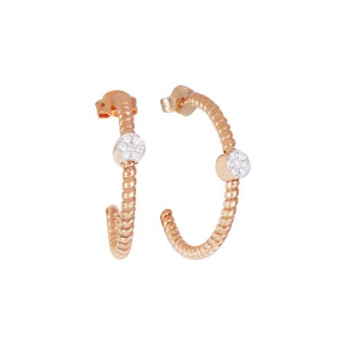 recchini in oro rosa con diamanti bianchi Collezione Easy Oro 18 carati Diamanti bianchi: carati 0,11 - qualità G/VS
