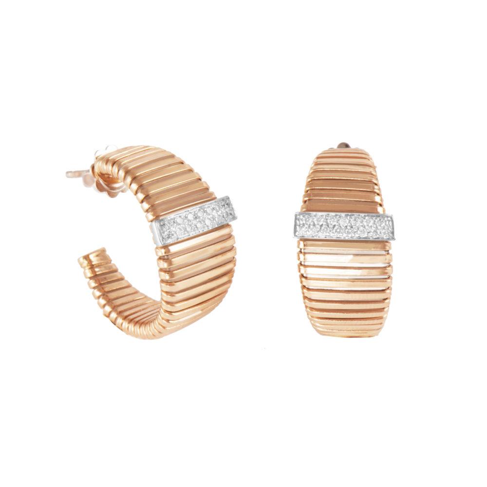 Orecchini in oro rosa con diamanti bianchi Collezione Wide Oro 18 carati Diamanti bianchi: carati 0,24 - qualità G/VS