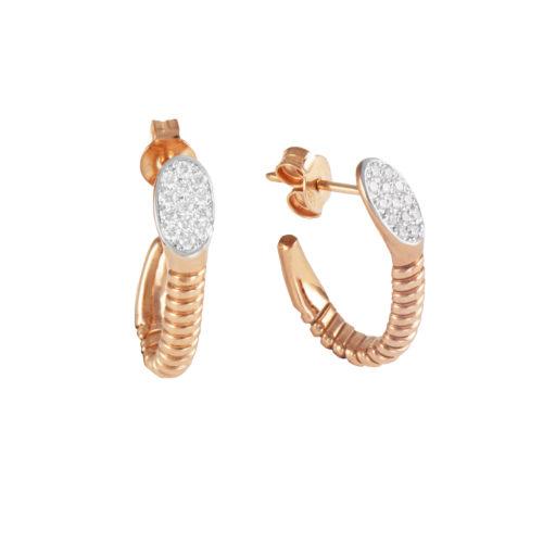 Orecchini in oro rosa con diamanti bianchi Collezione Snake Oro 18 carati Diamanti bianchi: carati 0,21 - qualità G/VS