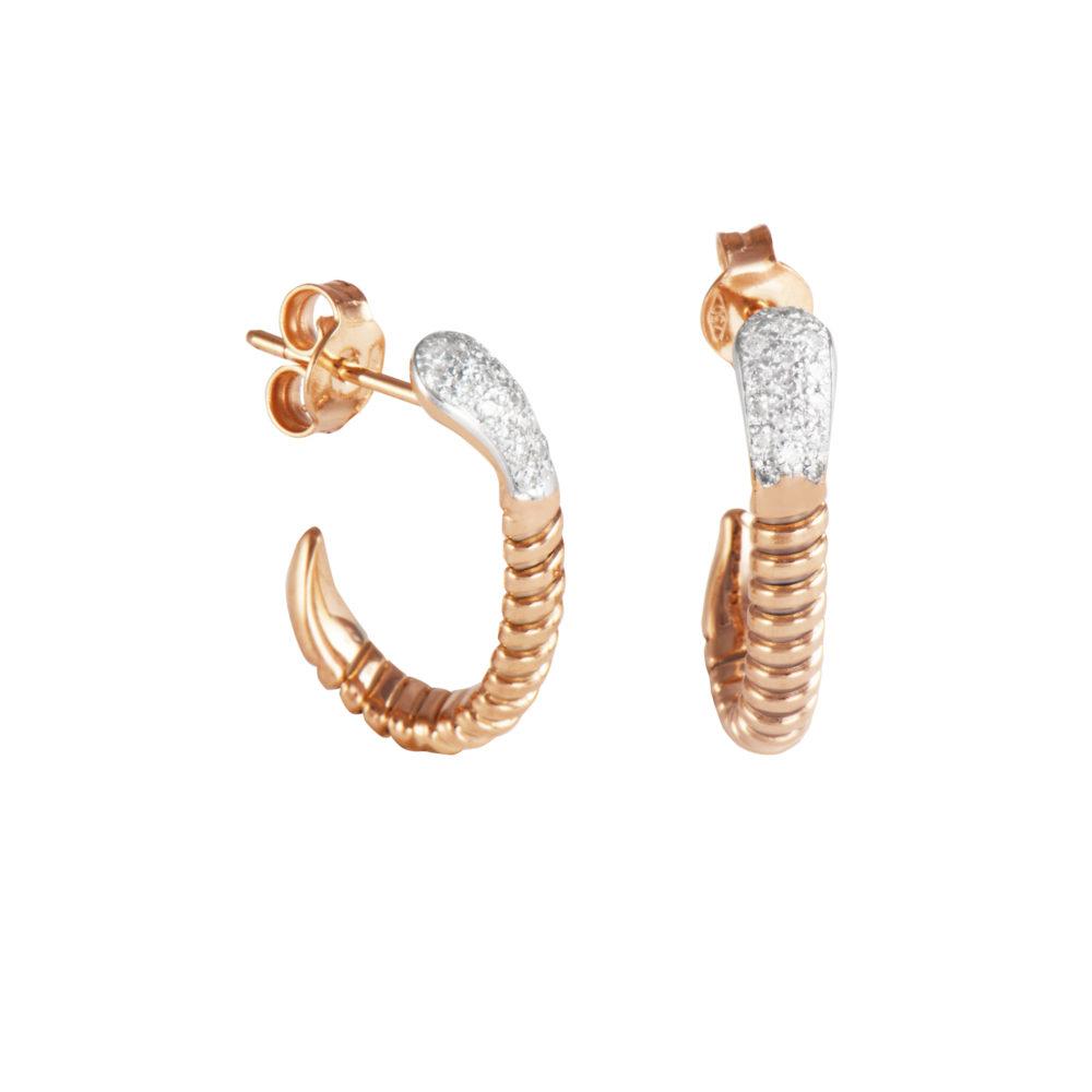 Orecchini in oro rosa con diamanti bianchi Collezione Snake Oro 18 carati Diamanti bianchi: carati 0,25 - qualità G/VS