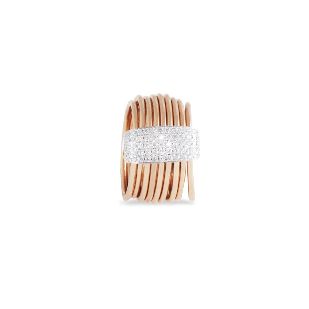 Anello in oro rosa con diamanti bianchi Collezione Saturn Oro 18 carati Diamanti bianchi: carati 0,41 - qualità G/VS
