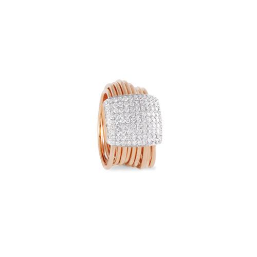 Anello in oro rosa con diamanti bianchi Collezione Saturn Oro 18 carati Diamanti bianchi: carati 0,92 - qualità G/VS