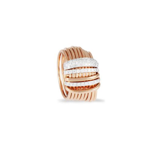 Anello in oro rosa con diamanti bianchi Collezione Saturn Oro 18 carati Diamanti bianchi: carati 0,61 - qualità G/VS