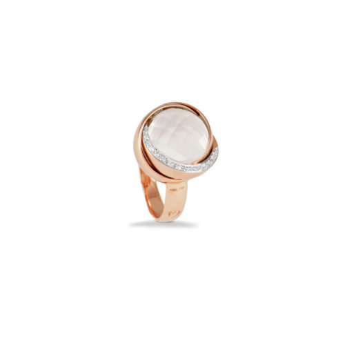Anello in oro rosa con diamanti bianchi e cristallo di rocca Collezione Colors Oro 18 carati Diamanti bianchi: carati 0,08 - qualità G/VS Cristallo di rocca: carati 7,00