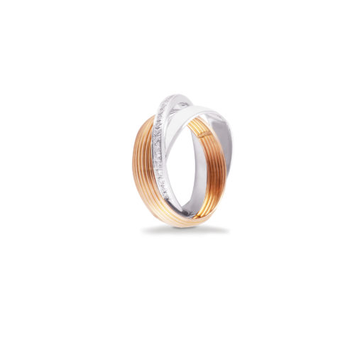 Anello in oro rosa e bianco con diamanti bianchi Collezione Saturn Oro 18 carati Diamanti bianchi: carati 0,21 - qualità G/VS