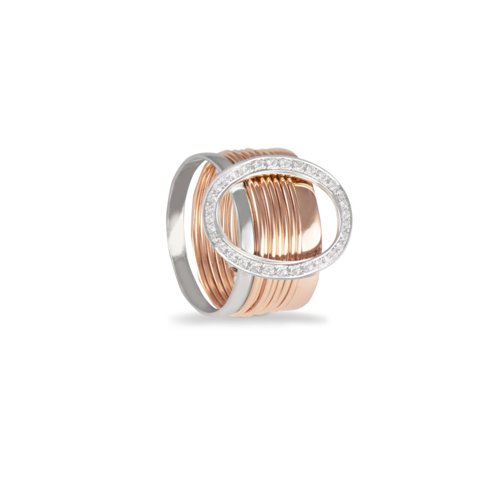 Anello in oro rosa e bianco con diamanti bianchi Collezione Saturn Oro 18 carati Diamanti bianchi: carati 0,18 - qualità G/VS