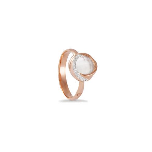 Anello in oro rosa con diamanti bianchi e cristallo di rocca Collezione Colors Oro 18 carati Diamanti bianchi: carati 0,04 – qualità G/VS Cristallo di rocca: carati 2,00