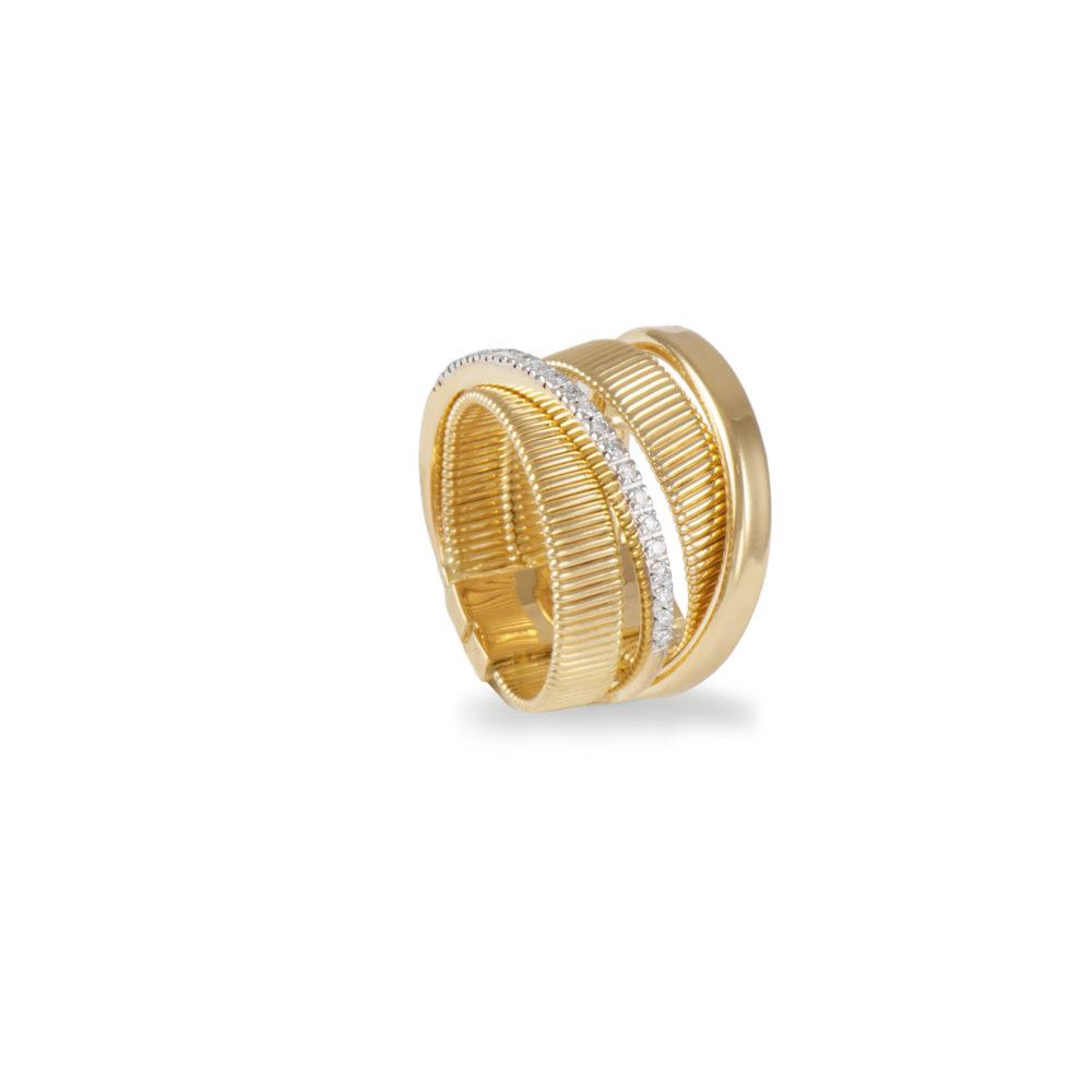 Anello in oro giallo con diamanti bianchi Collezione Sunrise Oro 18 carati Diamanti bianchi: carati 0,13 - qualità G/VS