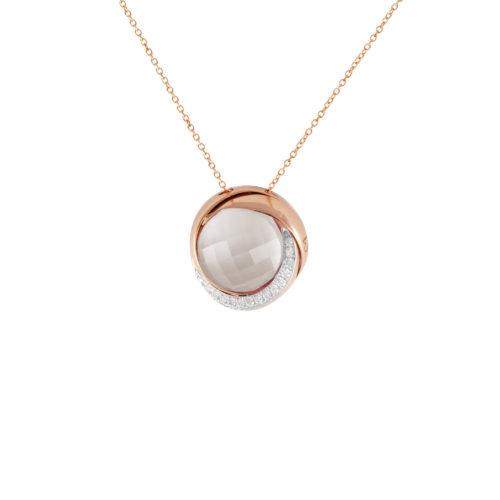 Pendente in oro rosa con diamanti bianchi e cristallo di rocca Collezione Colors Oro 18 carati Diamanti bianchi: carati 0,08 - qualità G/VS Cristallo di rocca: carati 6,00 Lunghezza catena: 45 cm