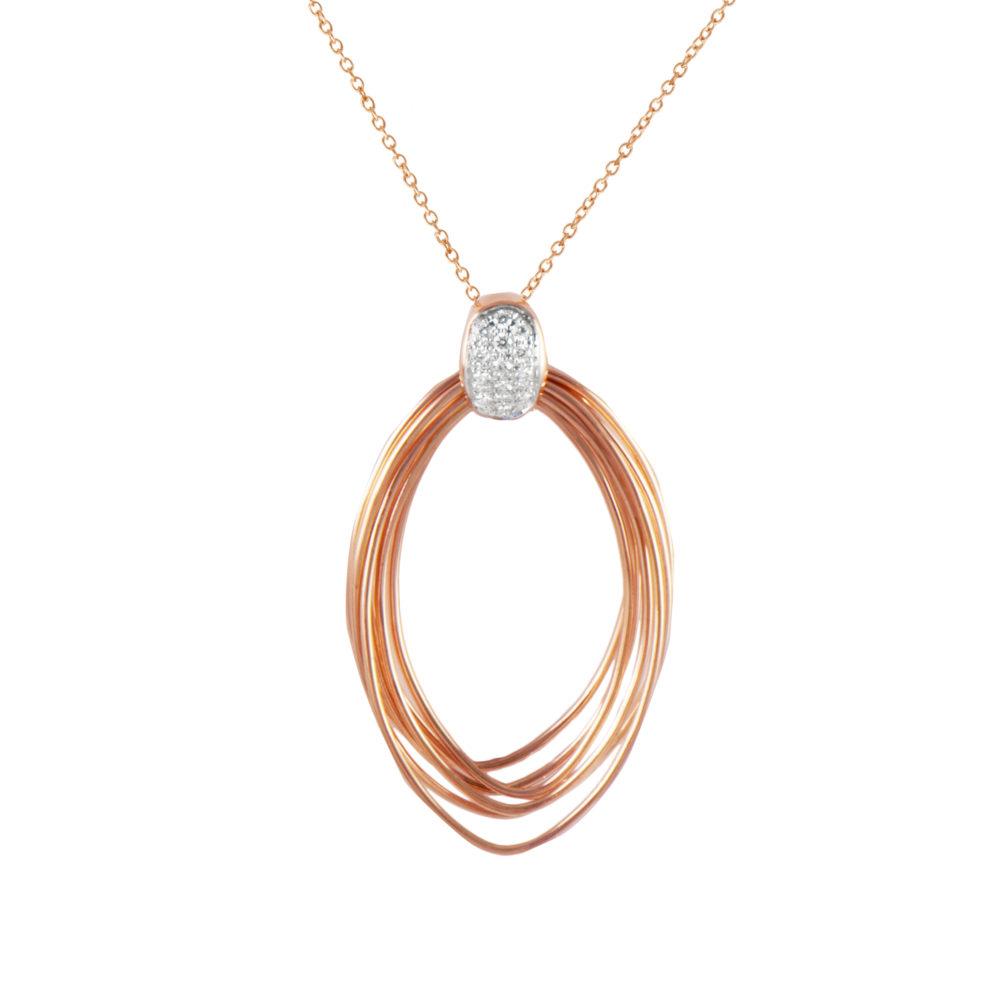 Pendente in oro rosa con diamanti bianchi Collezione Saturn Oro 18 carati Diamanti bianchi: carati 0,12 - qualità G/VS Lunghezza catena: 45 cm
