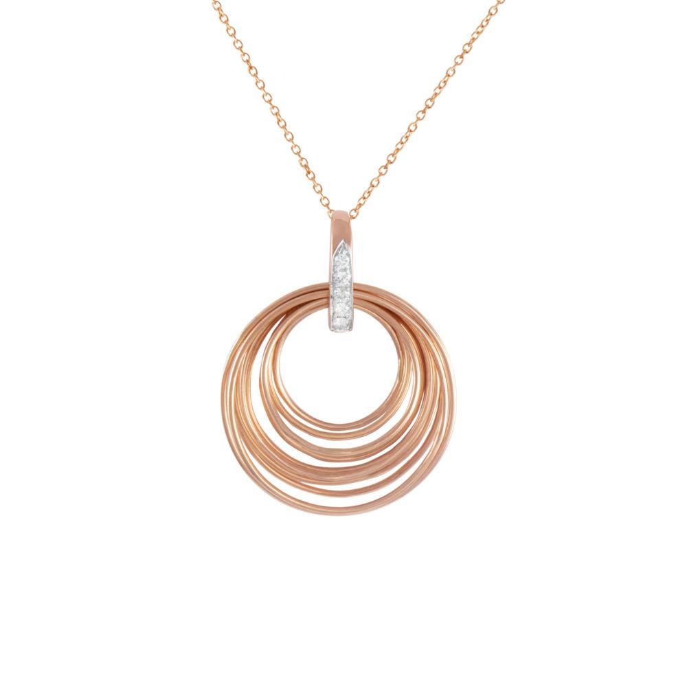 Pendente in oro rosa con diamanti bianchi Collezione Saturn Oro 18 carati Diamanti bianchi: carati 0,07 - qualità G/VS Lunghezza catena: 45 cm