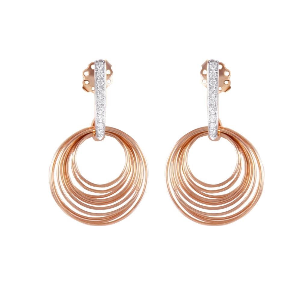 Orecchini in oro rosa con diamanti bianchi Collezione Saturn Oro 18 carati Diamanti bianchi: carati 0,27 - qualità G/VS