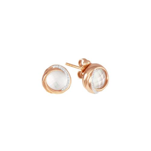 Orecchini in oro rosa con diamanti bianchi e cristallo di rocca Collezione Colors Oro 18 carati Diamanti bianchi: carati 0,08 - qualità G/VS Cristallo di rocca: carati 3,80
