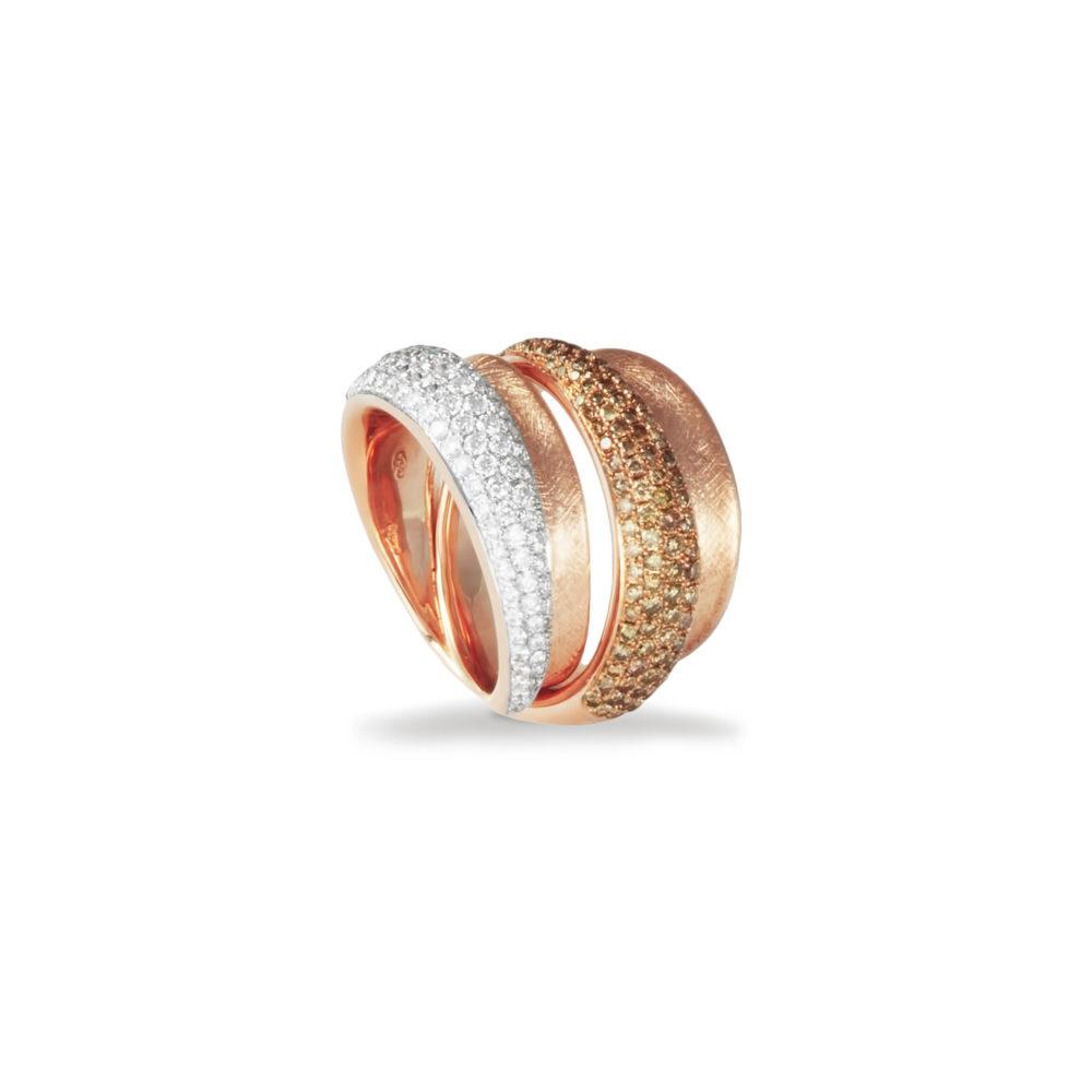 Anello in oro rosa con diamanti bianchi e brown Collezione Reverse Oro 18 carati Diamanti bianchi: carati 0,82 - qualità G/VS Diamanti brown: carati 0,81