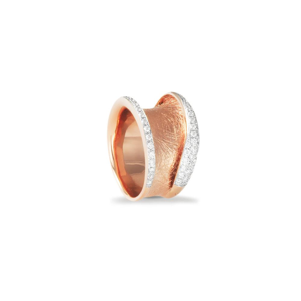 Anello in oro rosa con diamanti bianchi Collezione Reverse Oro 18 carati Diamanti bianchi: carati 0,44 - qualità G/VS
