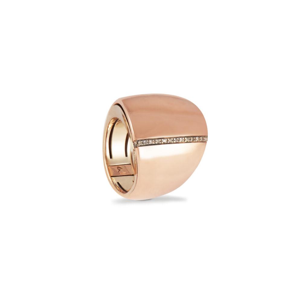 Anello in oro rosa e bianco con diamanti brown Collezione Kult Oro 18 carati Diamanti brown: carati 0,13