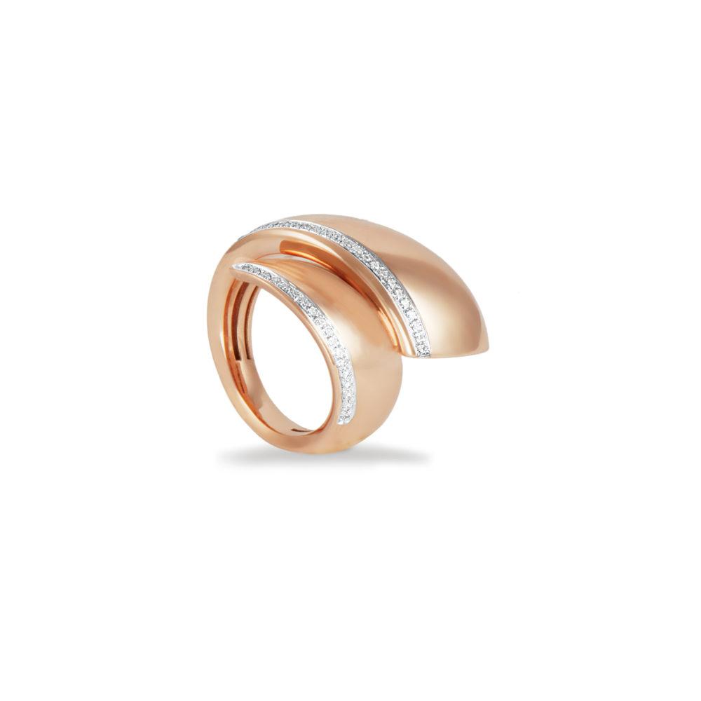 Anello in oro rosa con diamanti bianchi Collezione Kult Oro 18 carati Diamanti bianchi: carati 0,25 - qualità G/VS