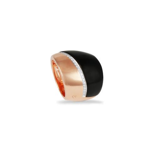 Anello in oro rosa con diamanti bianchi e onice Collezione Kult Oro 18 carati Diamanti bianchi: carati 0,21 - qualità G/VS Onice: carati 10,80