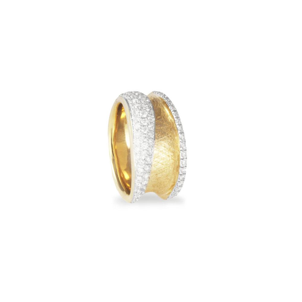 Anello in oro giallo con diamanti bianchi Collezione Reverse Oro 18 carati Diamanti bianchi: carati 0,76 - qualità G/VS