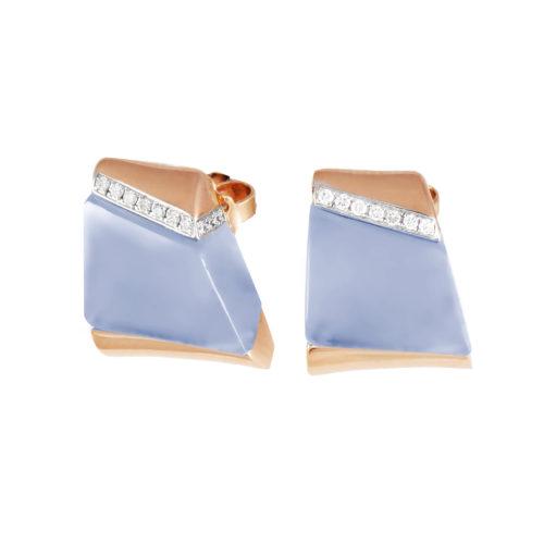 Orecchini in oro rosa con diamanti bianchi e calcedonio lilla Collezione Kult Oro 18 carati Diamanti bianchi: carati 0,13 - qualità G/VS Calcedonio lilla: carati 11,42